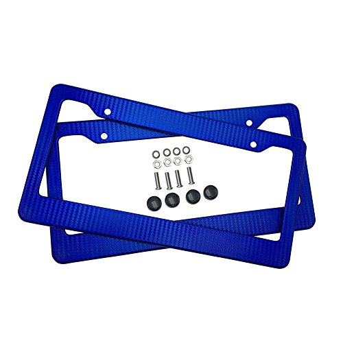 - ZYTC Car Carbon Fiber Painted Style Blue Front Rear License Plate Frame Cover Screw (Pack of 2)