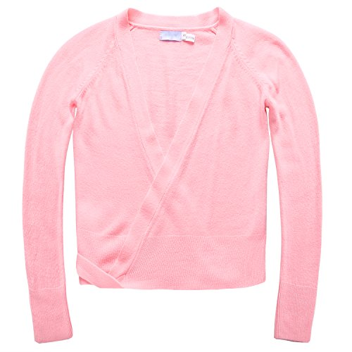 Little Girls Knit Wrap Sweater for Dance Leotard,Pink,100(Age for 3-4Y)