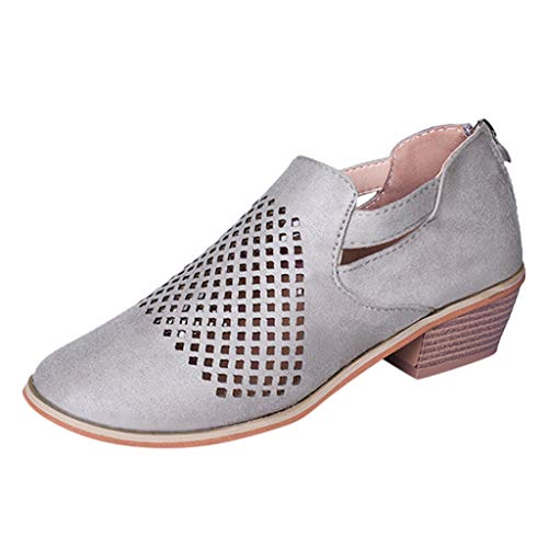 〓COOlCCI〓Women's Ankle Boots Slip On Loafers Pointed Toe Chunky Block Low Heel Office Dress Casual Shoes Cutout Booties Gray]()