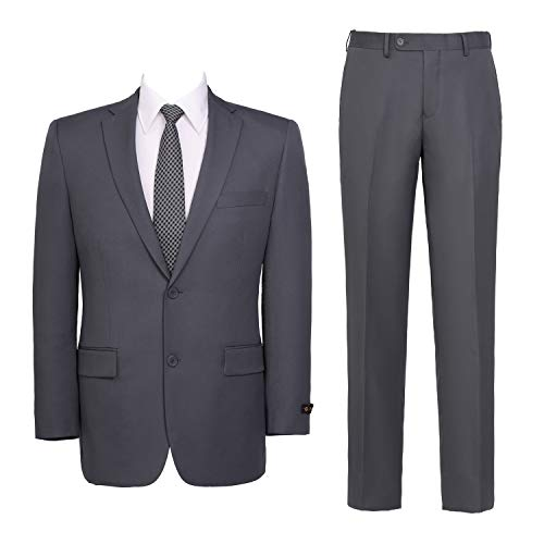 Men's Suit 2-Piece Classic Fit Solid Color Single Breasted 2 Buttons Jacket Dress Pants