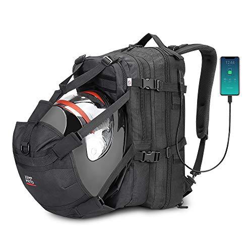 Helmet Backpack, Snowmobile Helmet Bag 37L Motorcycle Backpack Bag with USB-charge Port, Large Capacity Waterproof Helmet Holder Luggage Storage Bag Men for Riding Motorbike Outdoor
