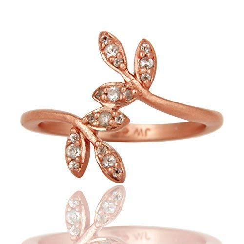 Rose Gold Plated White Topaz Sterling Silver Engagement Ring for Her