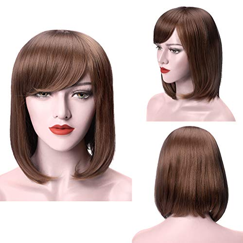 MelodySusie Light Brown Short Bob Hair Wig for Women 13 Inches Synthetic Wigs with Flat Bangs Natural as Real Hair Adjustable Size Cosplay Daily Party Costume Wig with Free Wig Cap, Light Brown -