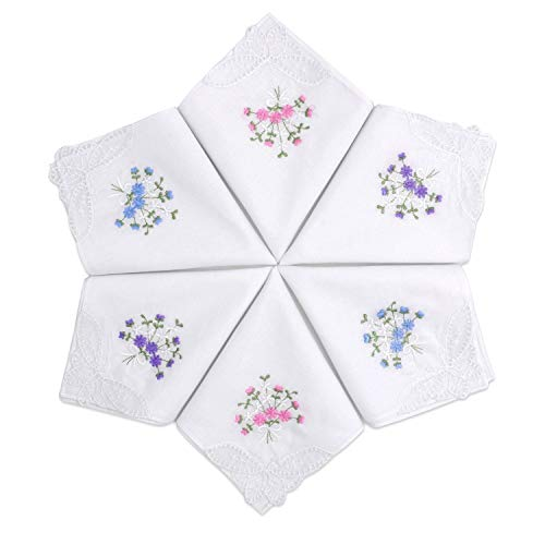 Selected Hanky Ladies/Women's Cotton Handkerchief Flower Embroidered with Lace 6 Pack - Assorted