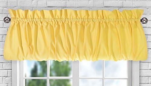Ellis Curtain Stacey Sheer Balloon Valance, 60 x 15 , Yellow – 730462114877