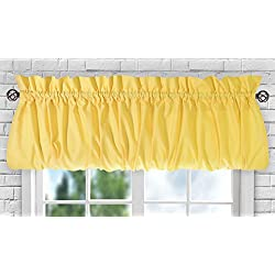"Ellis Curtain Stacey Sheer Balloon Valance, 60"" x 15"", Yellow"