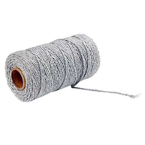 Tpingfe 100m Long/100Yard Pure Cotton Twisted Cord Rope Crafts Macrame Artisan String (Gray)