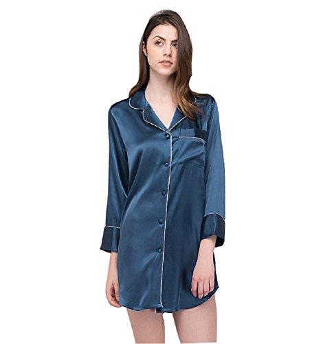SexyTown Womens Long Sleeve Sleepshirt Button-Front Nightshirts Pajama Top Medium Navy Blue