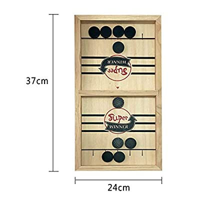 Daxuan Wooden Desktop Hockey Table Game for Kids and Adults, Table Desktop Battle 2 in 1 Ice Hockey Game, Portable Hockey Game Set for Family Party, Birthday Gift (Wooden) : Sports & Outdoors