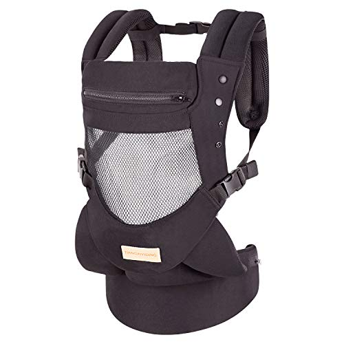 (Infant Toddler Baby Carrier Wrap Backpack Front and Back, Hip Seat & Hood, Soft & Breathable Cotton, Cool Air Mesh, Black )