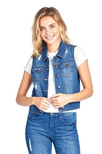 Blue Age Womens Denim Jean Jacket and Sleeveless Vest (M, V6001_MDBLUE)... (Cropped Denim Vest)