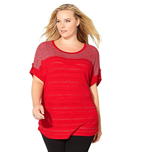 Avenue Women's Shimmer Ruched Pullover, 18/20 Barbados Cherry - Ruched Shimmer