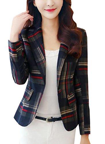 Risvolto Cardigan Tops Moda Outerwear Primavera A Donne Rosso Tailleur Corto Casual E Jacket Cappotto Giacche Lunga Autunno Manica Reticolo CxfqYTwRX