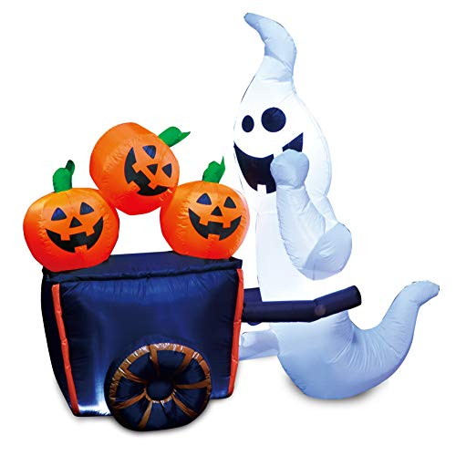 Joiedomi Halloween Inflatable Blow-up Ghost Pushing Cart of Pumpkins - 6 Ft Tall 4 Ft Wide ()