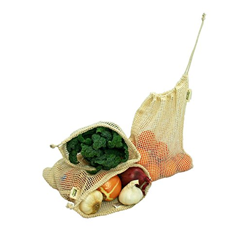 Simple Ecology Reusable Organic Cotton Mesh Grocery Shopping Produce Bags - Medium 3 Pack (heavy duty, washable, produce saver bags, food storage, bulk bin, tare weight tag, drawstring)