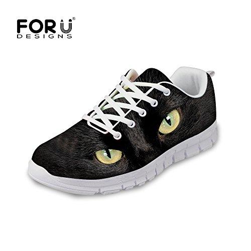 För U Designar Mode Katttryck Man & Kvinna Ventilerande Mesh Löparskor Gymnastiksko Svart Katt En