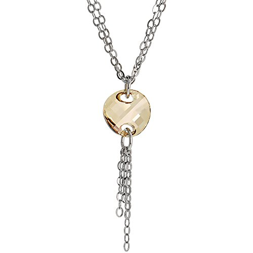 Sterling Silver Double Strand 16 in. Rolo Necklace w/ Smoky Quartz Crystal Disc