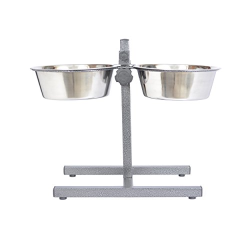 Iconic Pet 8-Cup Adjustable Stainless Steel Pet Double Diner, 64-Ounce