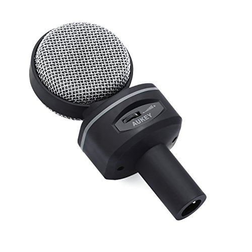 AUKEY Condenser Microphone, Studio Bidirectional Recording Condenser Mic with 3.5mm Microphone Headphones Splitter and Tripod Stand for Desktop Computers(Gray) - Image 2