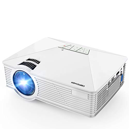Led Life (Mini Projector, DBPOWER GP15 Projector with 50,000-hour LED Life, 50% Brighter Multimedia Home Theater LED Projector, Supports 1080P, Compatible with Amazon Fire TV Stick, HDMI/VGA/AV/SD, White)