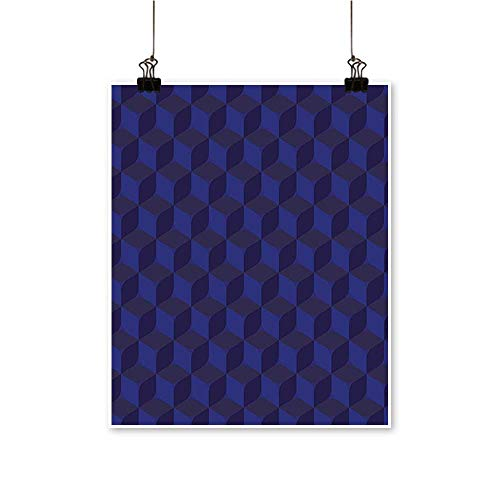 Office DecorationsPrint Like Geometrical Futuristic Inspired Shadow Boxes Cubes Image Print Dark Blue and -Abstract Art Painting,28