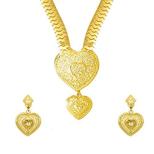 bodha Traditional Indian 22K Gold Plated Hi Micron Long Rani Har Jewelry Set for Women (SJ_2650) ()