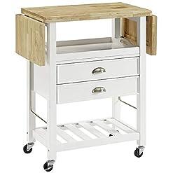 Kitchen Crosley Furniture Bristol Double Drop Leaf Kitchen Cart, White modern kitchen islands and carts