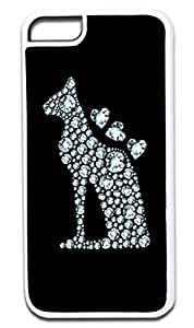 Diamond Print Dog Silhouette-Hearts- Case for the APPLE iphone 5c ONLY!!!-NOT COMPATIBLE WITH THE iphone 5c!!!-Hard White Plastic Outer Case
