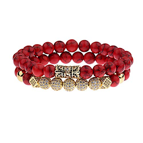 Mikash Fashion Luxury Micro Pave CZ Ball Crown Red Agate Couple Bracelets Charm Jewelry | Model BRCLT - 6945 |