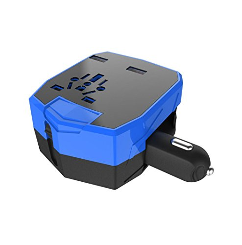 WZG Electrical Plug Universal Travel Adapter Electric Plugs Sockets Converter For US/AU/UK/EU Dual USB Wall Charger,Blue