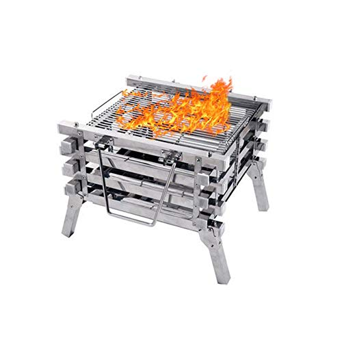 Price comparison product image Barbecue Charcoal Grill,  Portable Thickened Stainless Steel Outdoor Charcoal BBQ Grill for Outdoor Cooking Camping Hiking Picnics