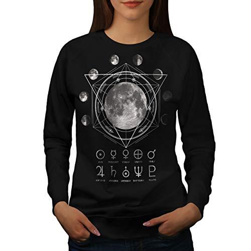 2xl Astronomia Felpa Wellcoda Donne Nero Luna S WA8xngIqaw