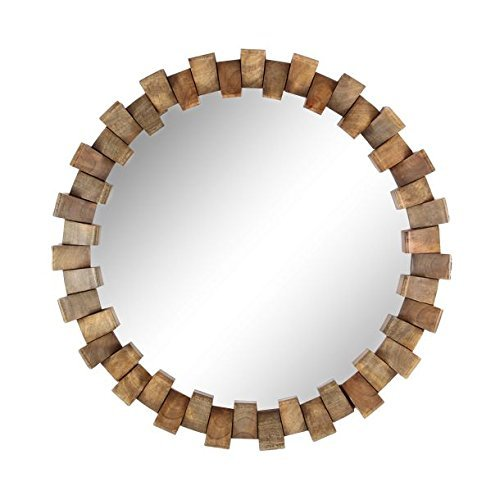 Deco 79 77125 Wood and Iron Brick Design Round Wall Mirror, 36