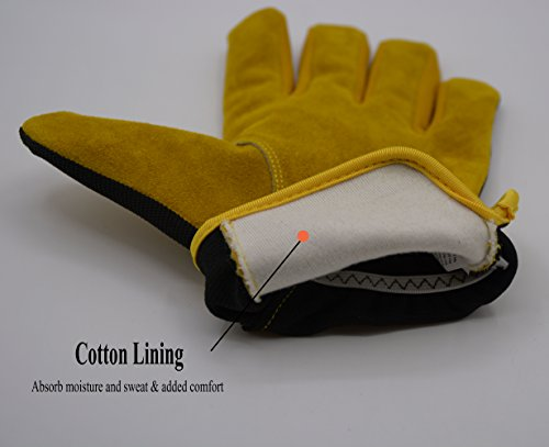 Men Work Gloves for Gardening, Mechanics, Construction, Driver, Cowhide Leather Palm, Dexterity Breathable Design by HANDLANDY (Image #3)
