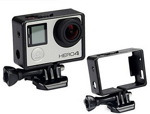 JINHEZO Black Frame Clear View Protective Skeleton Housing Case Shell with Lens for Gopro Hero 3+ Hero 4
