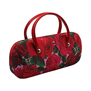 Rachel Rowberry Floral Mini handbag Eyeglass Case with eyeglass cleaning cloth in a unique Microfiber Smooth Finish | for Medium frames Women & Girls (AS12TG Vintage Rose)