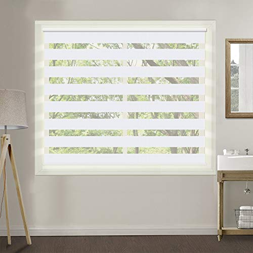 ZY Blinds Zebra Window Blinds, 72 W x 60 H Inches, White, Premium Light Filtering Horizontal Day and Night Dual Layer Sheer Blinds, Cord Loop Window Shades for Bedroom, Doors