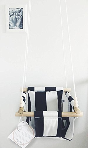 Indoor/Outdoor Black and White Striped Fabric Baby Swing by Sweet Swinging