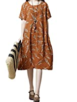 Mordenmiss Women's New Flower Printed Summer Midi Shirt Dress with Pockets