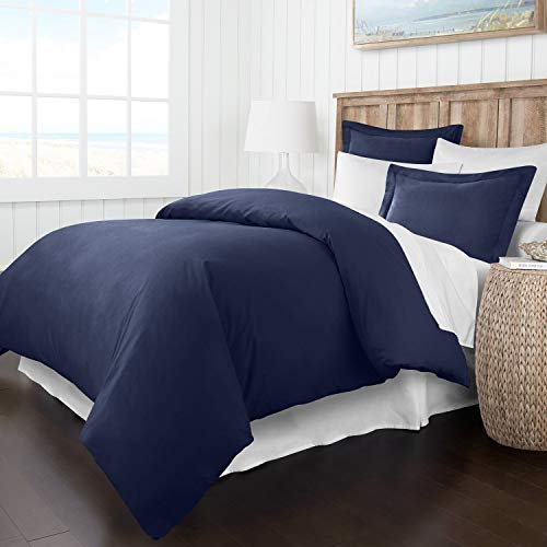 Italian Luxury Soft Brushed 1500 Series Microfiber Duvet Cover Set, Hotel Quality and Hypoallergenic with Zippered Closure and Matching Shams - Full/Queen - Navy