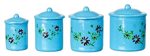 International Miniatures by Classics Dollhouse Miniature 1:12 Scale Canisters, Set of 4 w/Lids, Blue