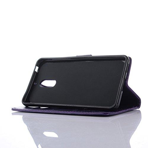 Trumpshop Smartphone Carcasa Funda protección para Nokia 6 + Purpúreo Claro + PU Cuero Caja Protector Billetera con la Ranura la Tarjeta Choque Absorción Púrpura