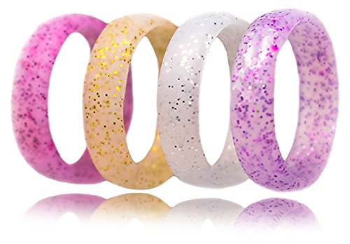Silicone Wedding Ring for Women by FluxActive (4 Pack) Affordable Silicone Wedding Bands – GLITTER Gold Silver Purple Pink For Sale