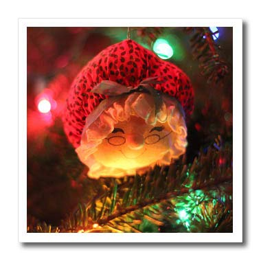 Stamp City - Holiday - Photograph of a Mrs. Claus Ornament Hanging from Our Christmas Tree. - 6x6 Iron on Heat Transfer for White Material () - 3dRose ht_292986_2