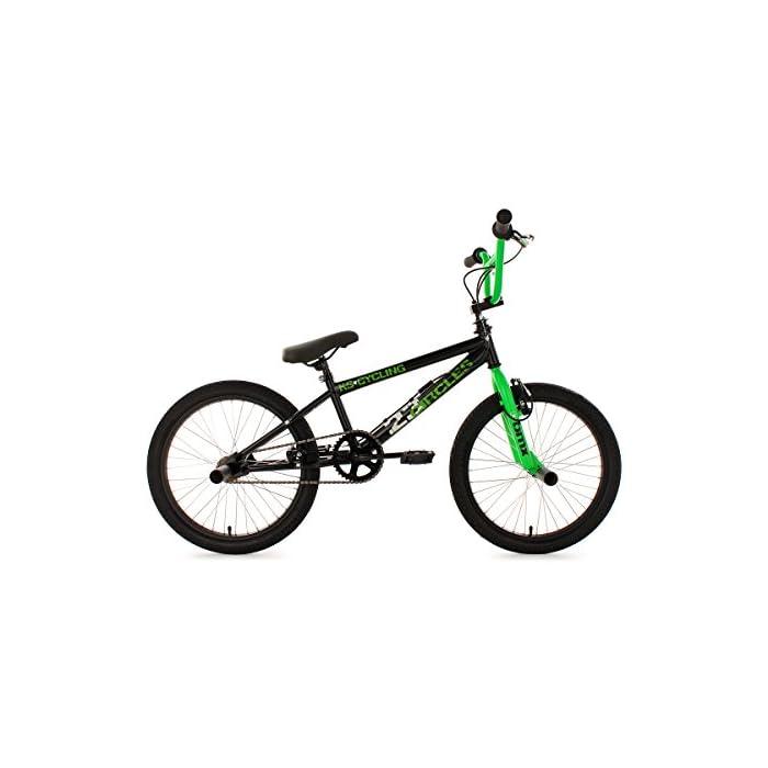 KS Cycling Circles – Bicileta BMX , para todas las medidas a partir de 135 cm, color negro / verde