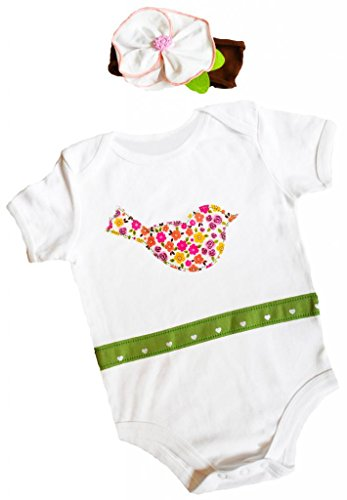 Birdy Boutique Baby Girls Funky Bird Outfit and Headband Set 3-6 Months Multi