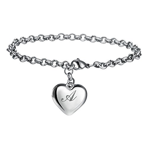 17mile Initial Charm Bracelets Stainless Steel A Letters Alphabet Heart Bracelet Adjustable for Women
