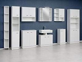 FACKELMANN Doppel-Hochschrank Standard/mit Kunststoffgriffen/Maße (B x H x  T): ca. 65 x 182 x 30 cm/Schrank für das Bad/Möbel für das WC oder ...