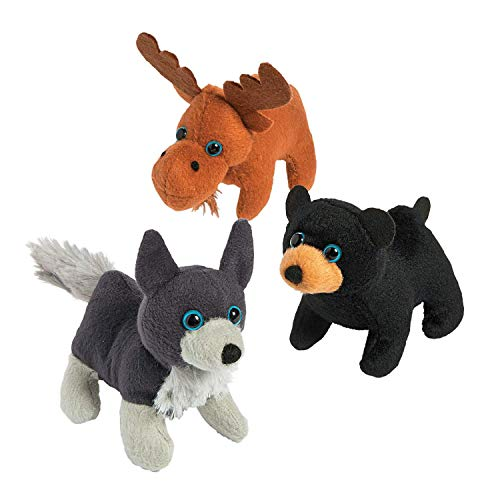 Woodland Plush - Plush Woodland Animals by Fun Express - Wolf / Bear / Moose Assortment - 12 Plush Animals Per Order