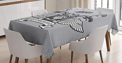 - Lunarable Route 66 Tablecloth, Classic Motorcycle Icon with American Rider Calligraphy Freedom Speed, Dining Room Kitchen Rectangular Table Cover, 60 W X 90 L Inches, Pale Grey Charcoal Grey